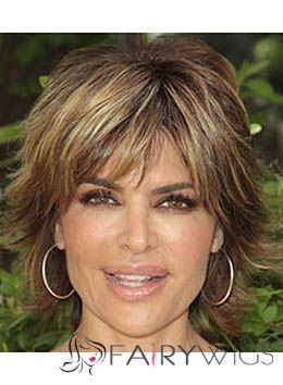 Lisa Rinna Hairstyle Short Straight Capless Remy Hair Wigs : fairywigs.com