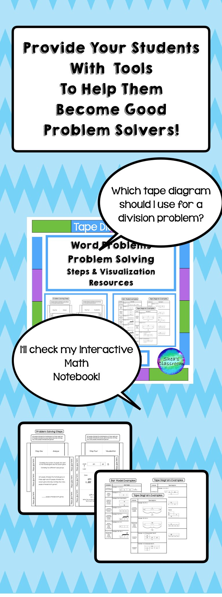 Tape Diagram-Problem Solving Interactive Notebook Activities ...