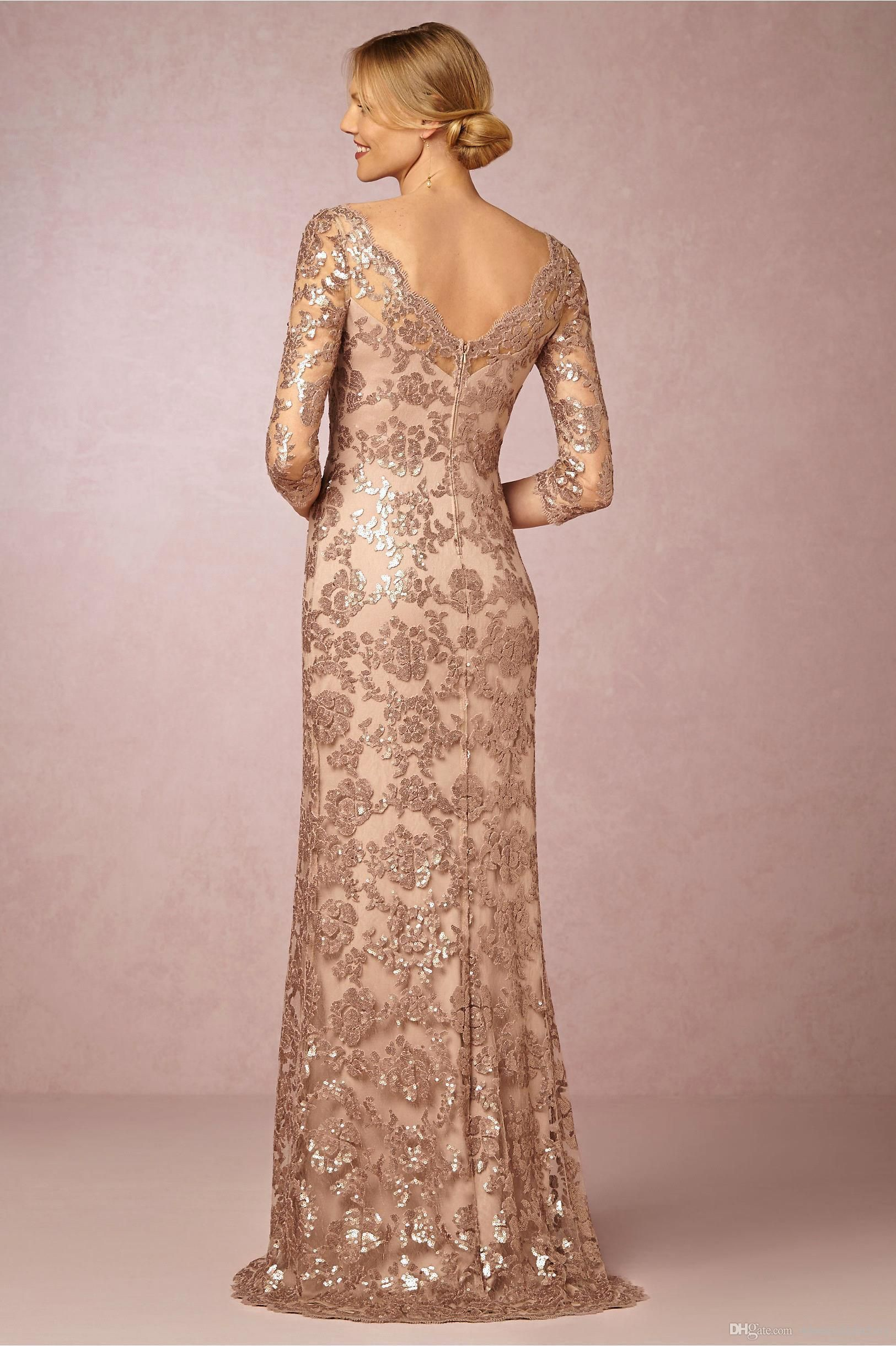 Long sleeves rose gold mother of the bride groom dresses bateau neck