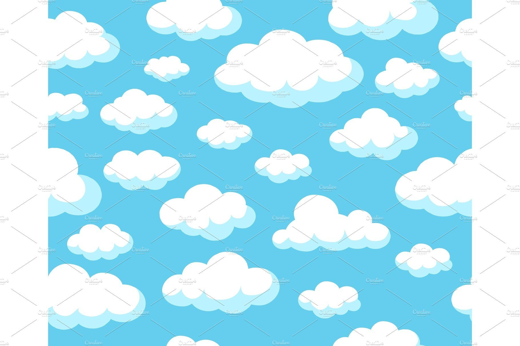 Cartoon Sky Pattern Cartoon Clouds Seamless Background Cloud Wallpaper