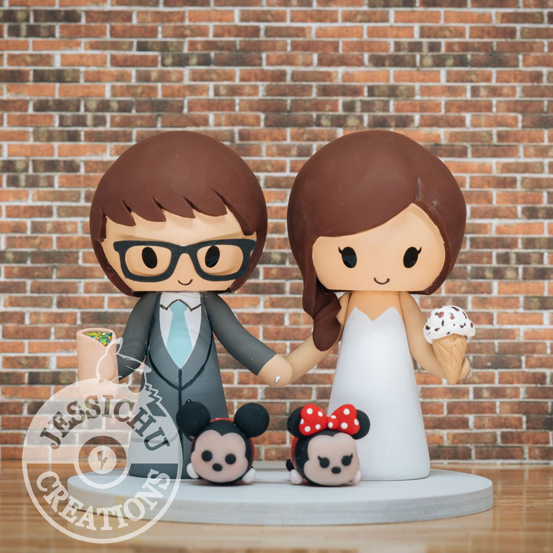 Foodie bride groom with burrito ice cream with mickey
