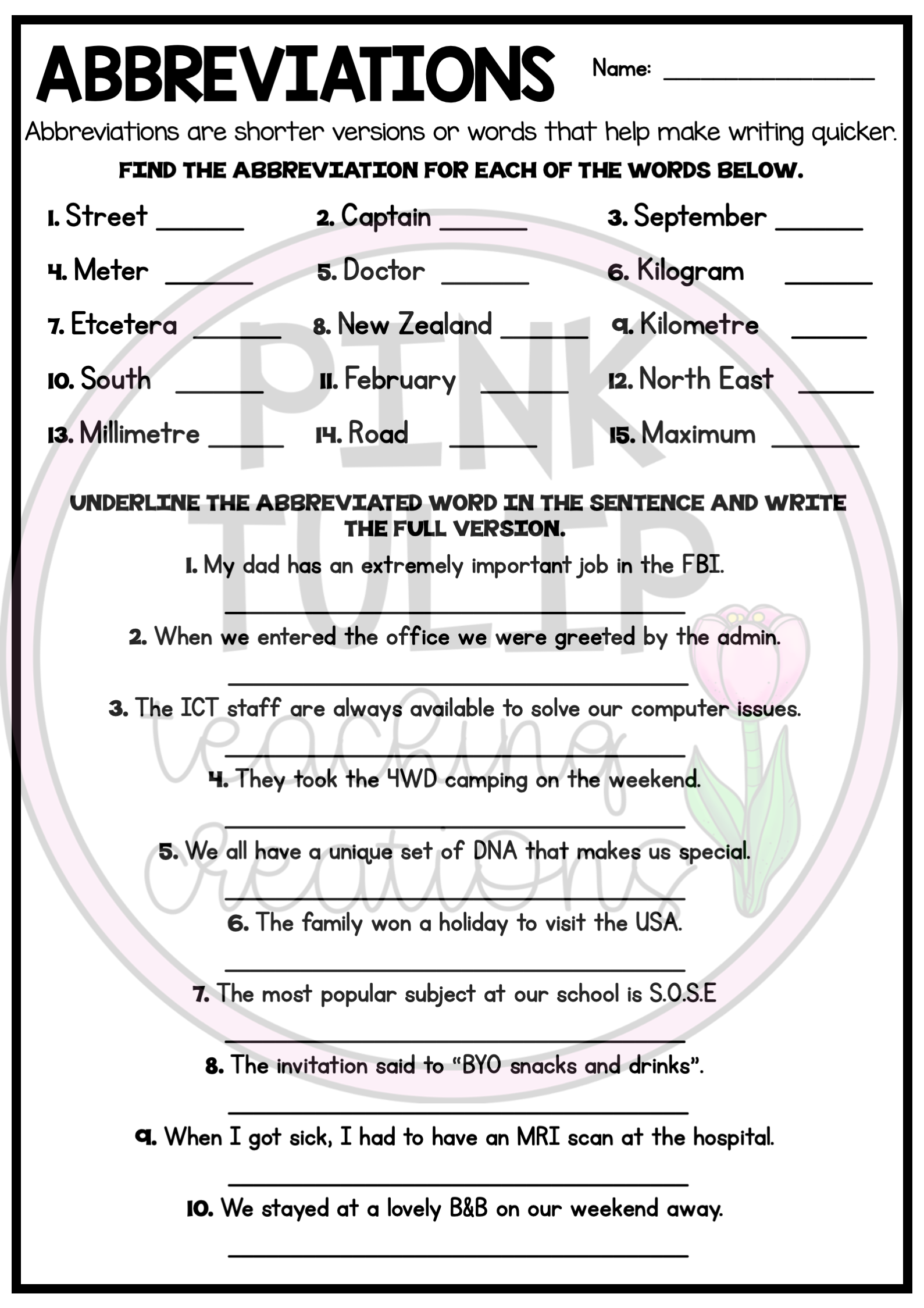 Abbreviations Worksheets Printable   Printable Worksheets and Activities  for Teachers [ 2249 x 1589 Pixel ]