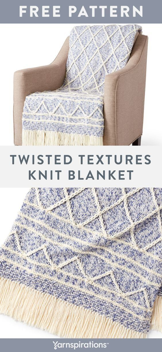 Free Twisted Textures Knit Blanket pattern using Bernat