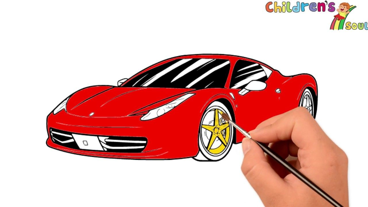Ferrari Car Coloring Pages How To Draw A Car Drawing Car Coloring Coloring Ferrari Kids Learning Dra Cars Coloring Pages Car Drawings Coloring Books