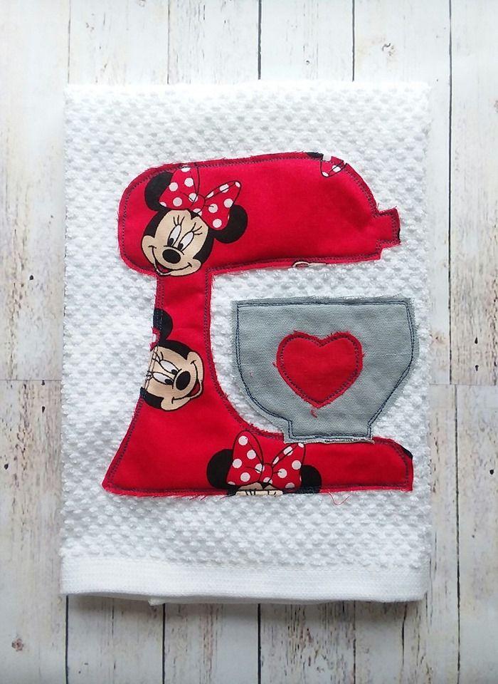Llama or Flamingo dish towel. Micky or Minnie. Kitchenaid, Appliqued Kitchen Towel, Mixer #dishtowels