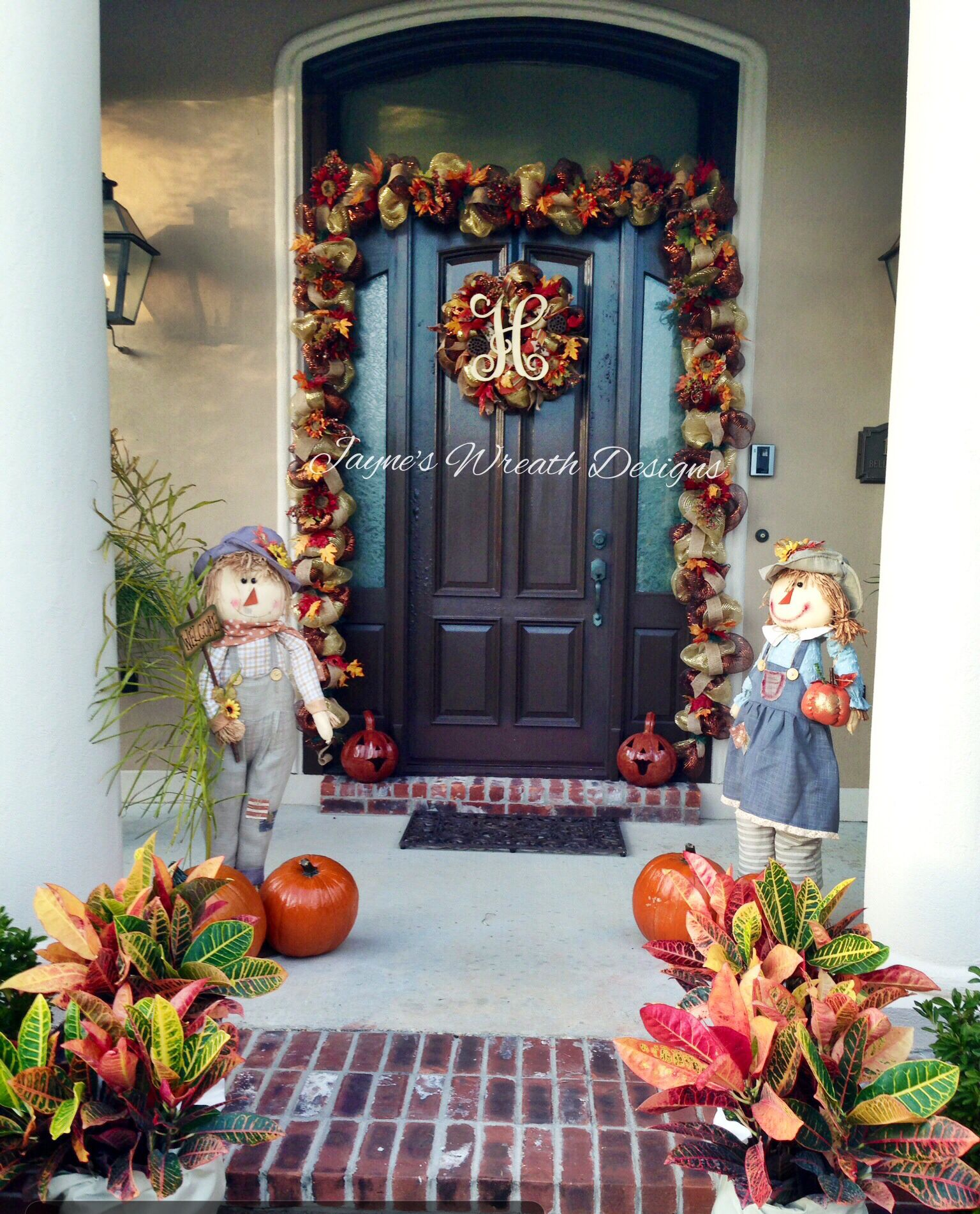 Window decor for fall  decorating for fall autumn fall garland and fall wreath with singe