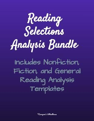 Bundled Reading Selections Analysis Templates from - analysis templates