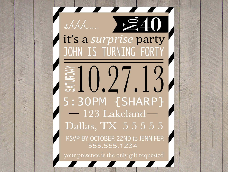 Printable Surprise Party Invitation Template Party Invite Template Surprise Birthday Party Invitations Birthday Surprise Party