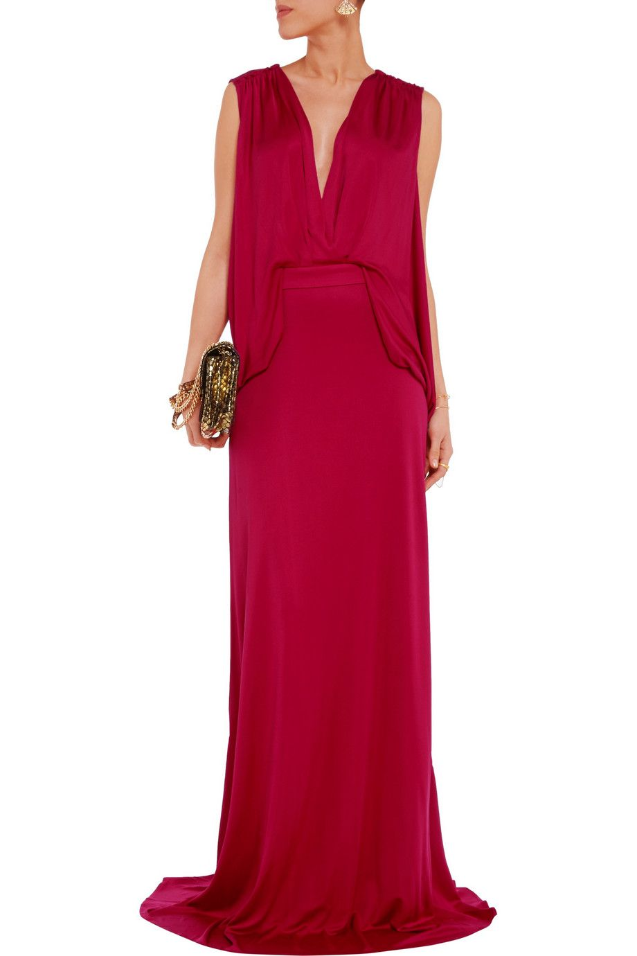 Lucia draped silkblend jersey maxi dress issa the outnet gown
