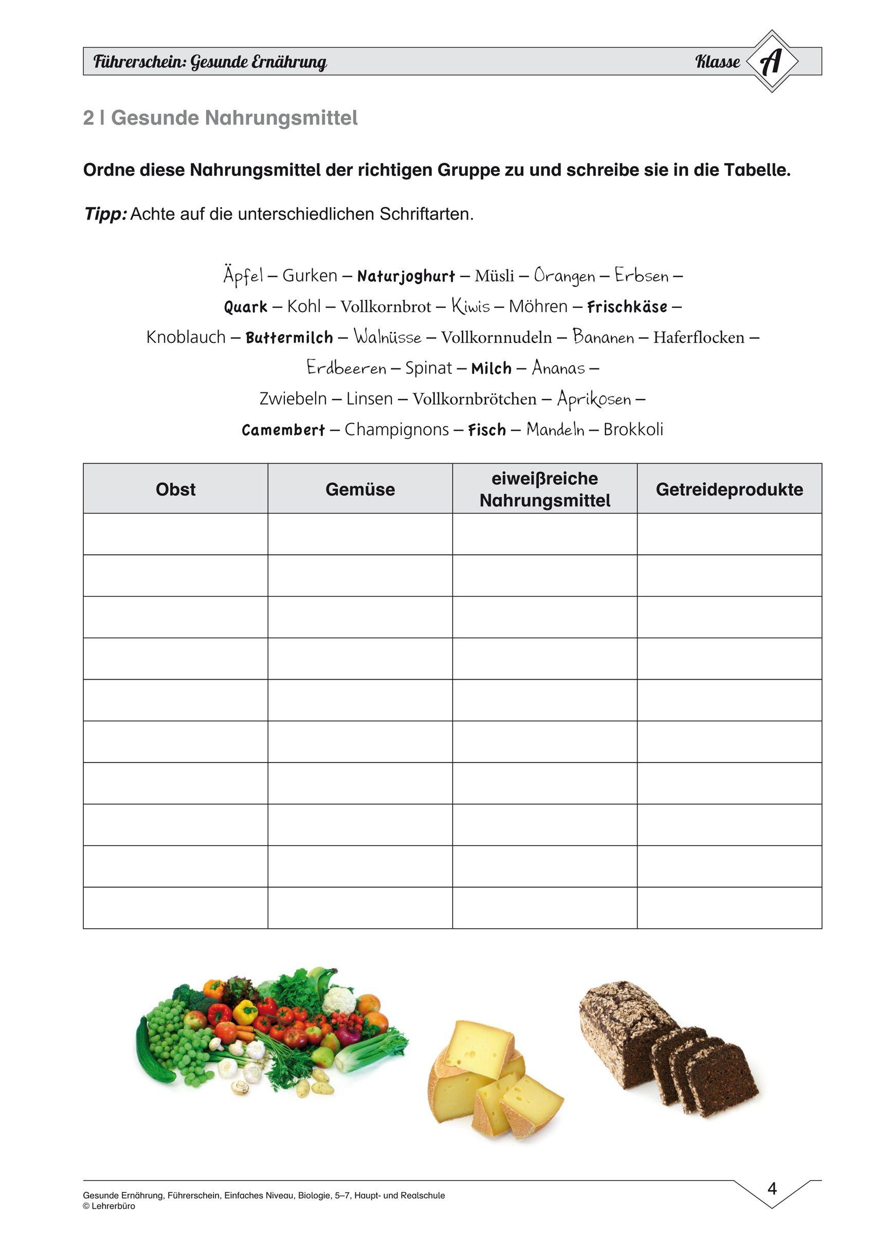 15 Arbeitsblatter Ernahrung Ernahrung Gesunde Nahrungsmittel Vollkornnudeln
