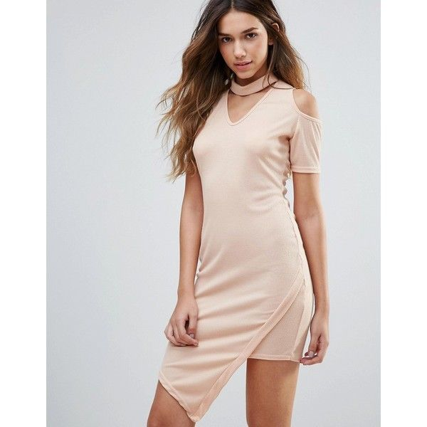 Daisy Street Cold Shoulder Dress With Choker Neckline (£22) ❤ liked on Polyvore featuring dresses, cream, pink v neck dress, v-neck dresses, cold shoulder dress, open shoulder dress and asymmetrical dress