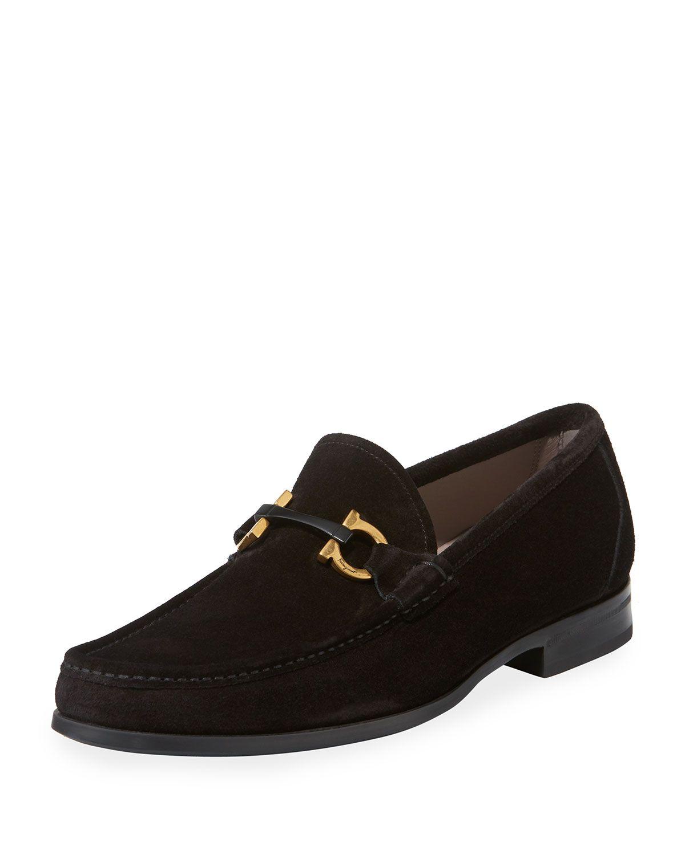 Salvatore Ferragamo Benford Suede Horsebit Loafers In Nero Nero Modesens Dapper Shoes Loafers Black Suede Loafers