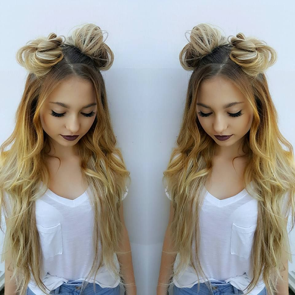double bun hairstyle extensions
