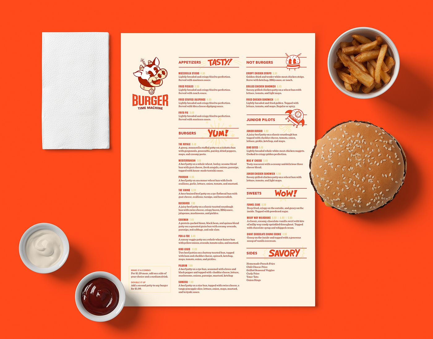 Check Out This Behance Project Burger Time Machine Https Www Behance Net Gallery 49810887 Burger Time Machine Burger Menu Restaurant Food Menu