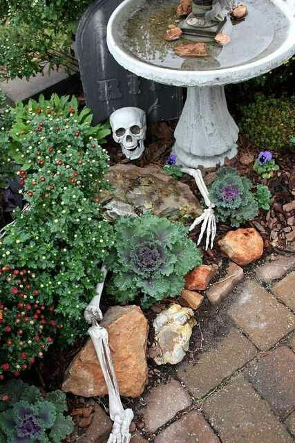 Outdoor Halloween Decorations Garden Skeleton Graveyard - how to make halloween decorations for yard