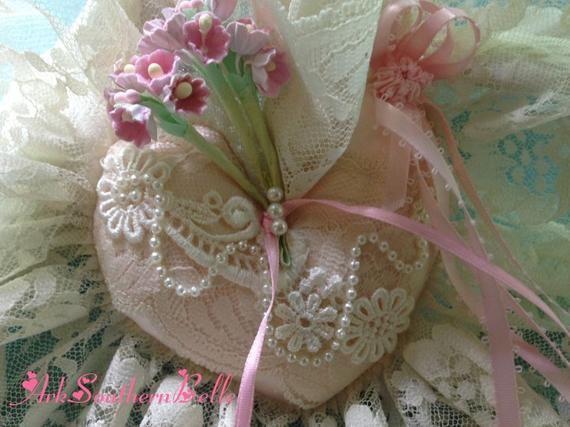Pink Heart Rustic Lace Headband