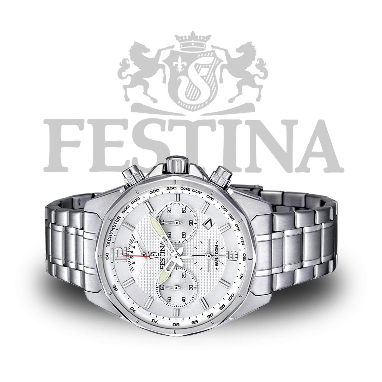 Festina Sport-Chronograph F6835 1 – silberne Herrenuhr mit Tachymeter    retrograder Anzeige ef858647b7