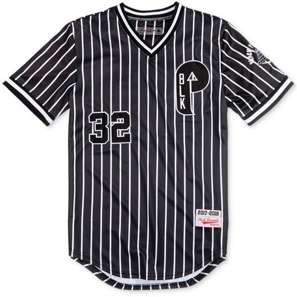 0c452c72 Black Pyramid Men's Striped Baseball Jersey ($60) ❤ liked on Polyvore  featuring men's fashion, men's clothing, black, mens baseball jerseys, mens  apparel ...