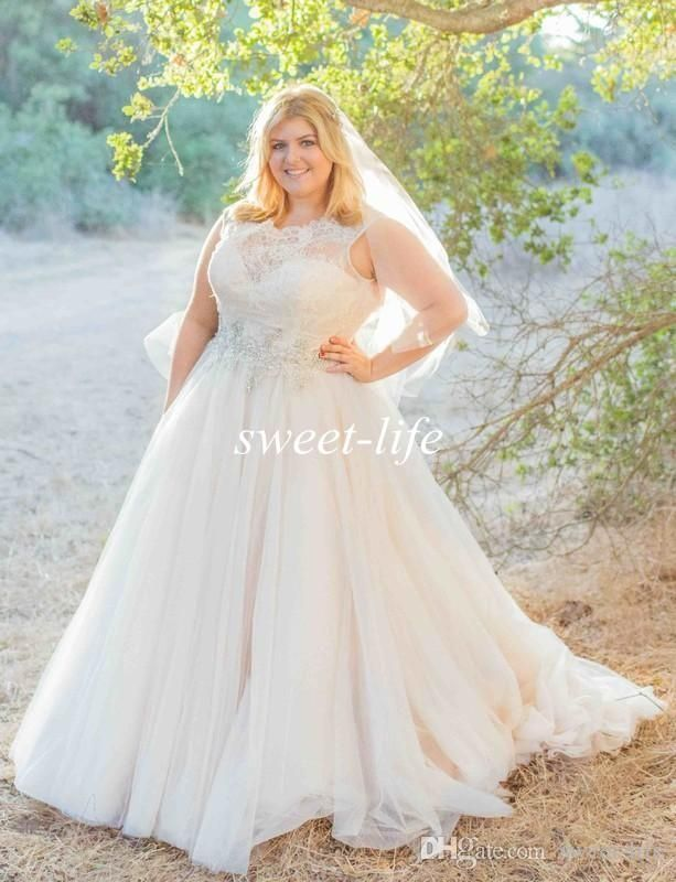 Plus Size Wedding Dresses 2016 Spring Sheer Neck Lace Beading A-Line ...