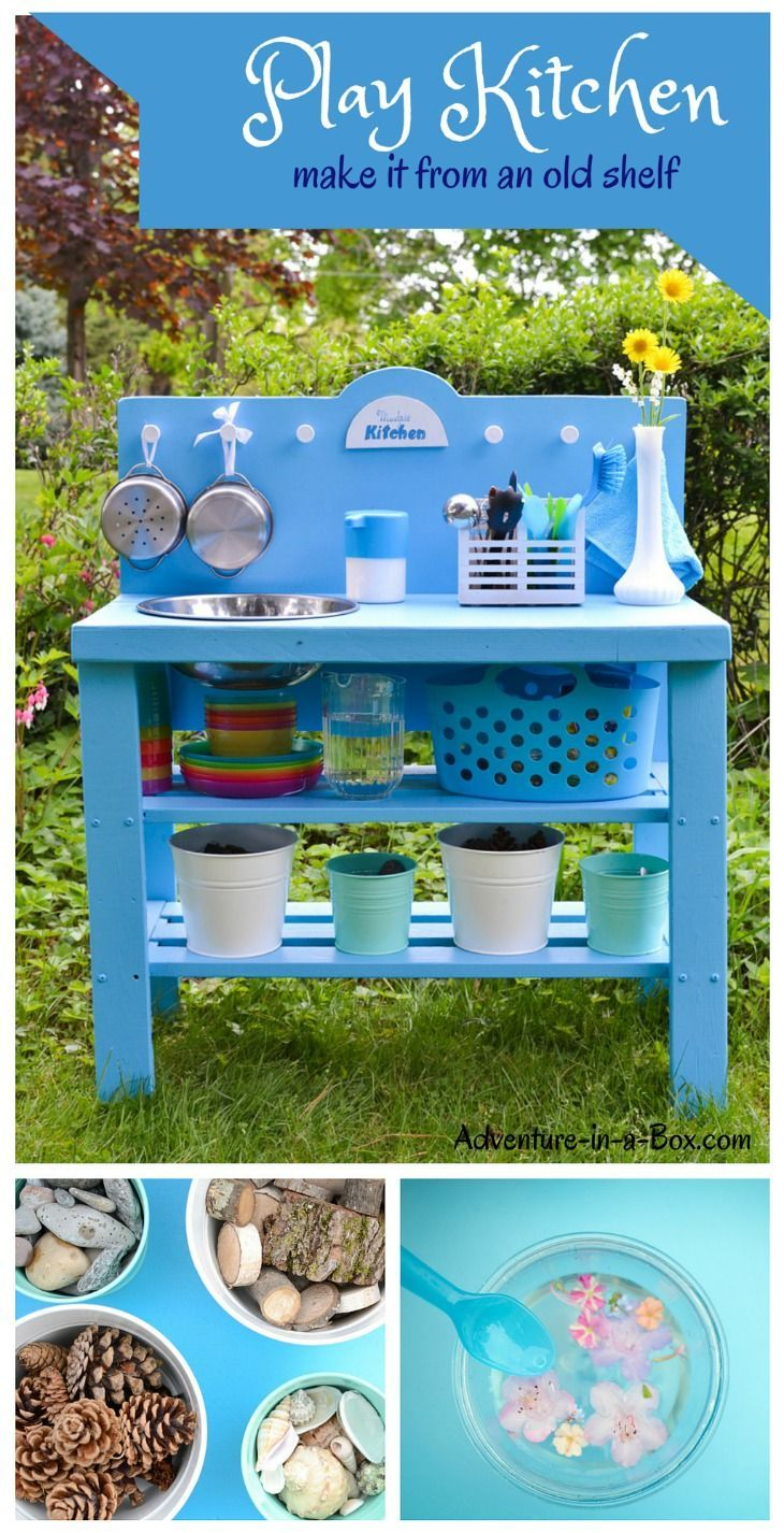 DIY Outdoor Play Kitchen from a Shelf | kiddo fun | Pinterest ...