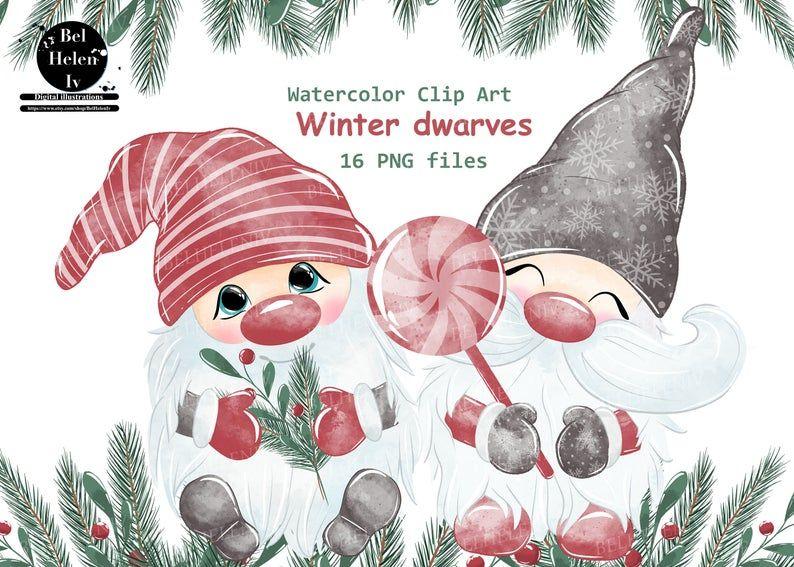 Christmas Gnomes Clipart Watercolor Gnomes Clipart Nordic Etsy Clip Art Holiday Artwork Fruits Drawing