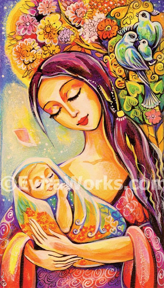 Mother and child Virgin Mary and Jesus motherhood art tree of life ...