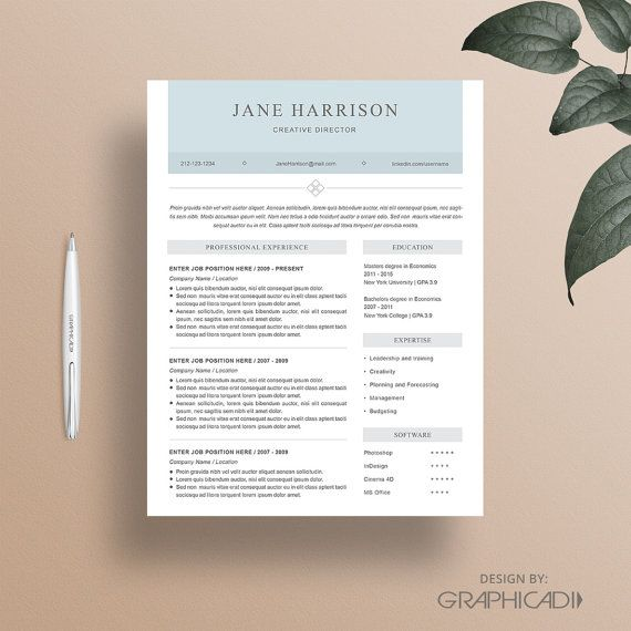 Resume Template Cover Letter Template Word Resume por Graphicadi - modern resume templates word