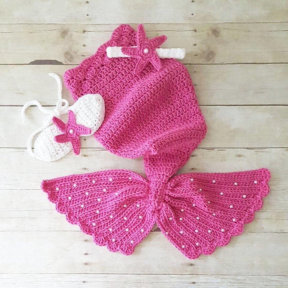 Crochet Baby Mermaid Tail Shell Bikini Top Starfish Headband