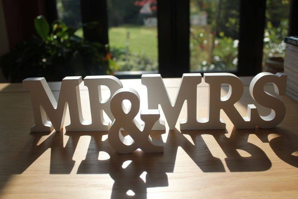 mr mrs white wooden letters wedding top table decoration mr and mrs sign