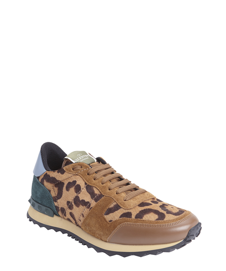 Valentino Beige Leather And Leopard Print Calf Hair Lace-Up Sneakers