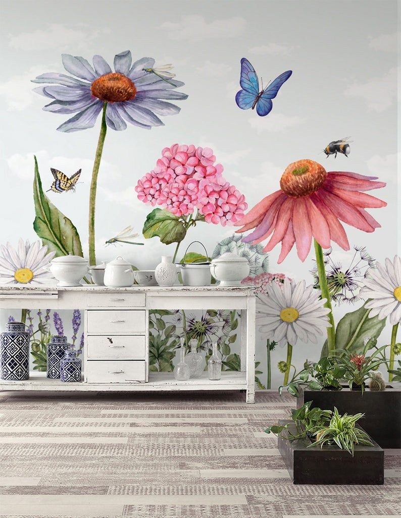 Floral Wallpaper Self Adhesive Peel And Stick Watercolor Etsy In 2021 Flower Mural Mural Kids Room Wallpaper