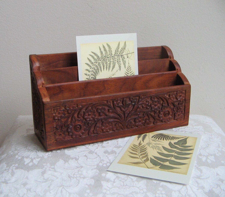 Vintage Carved Wood Desk Organizer Mail Letter Holder, Storage Box Display,  Bohemian Rustic Decor