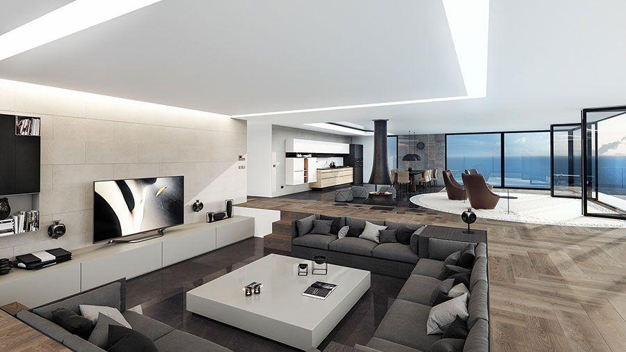 Interni di lusso 5 progetti di arredo moderno in bianco e for Progetti di interni case moderne