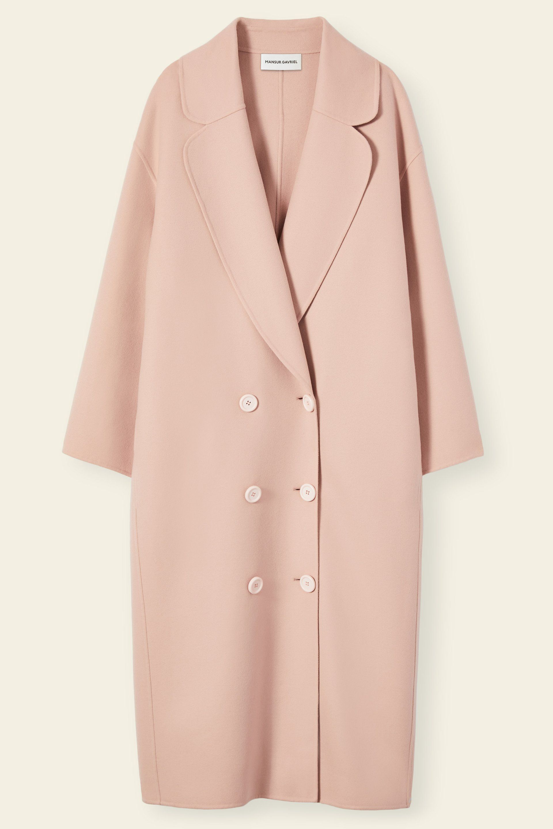 28886781eeb Italian wool cashmere light pink oversized long coat. Double breasted six  button closure and two