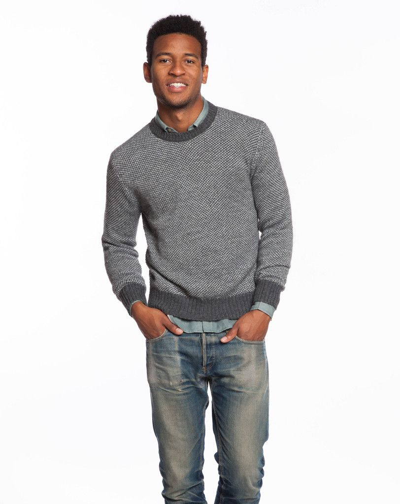 cd961addf8 Marine Layer - Contrast Crewneck Sweater - Grey and Charcoal