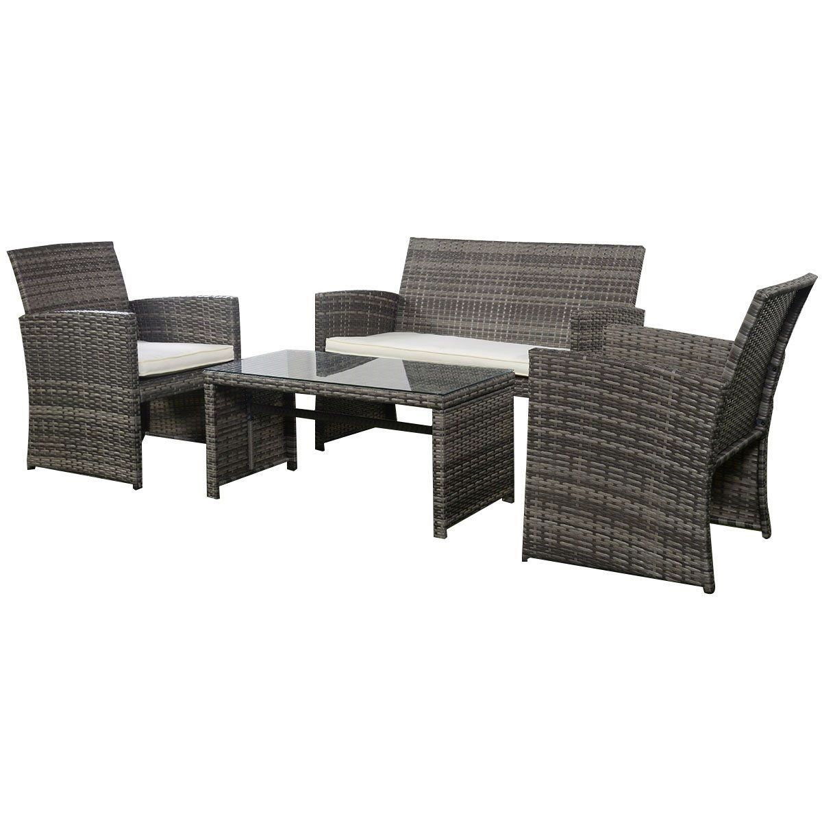 sliding glass patio doors with built in blinds. Grey Resin Wicker Rattan 4-Piece Patio Furniture Set With Seat Cushions Sliding Glass Doors Built In Blinds