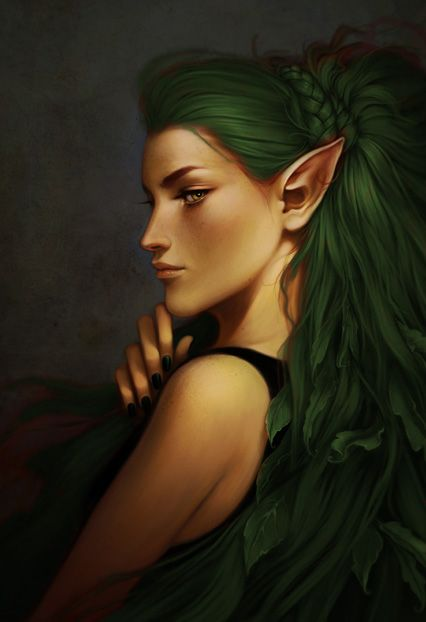 Green Hair Elf With Images Female Elf Bard Elves