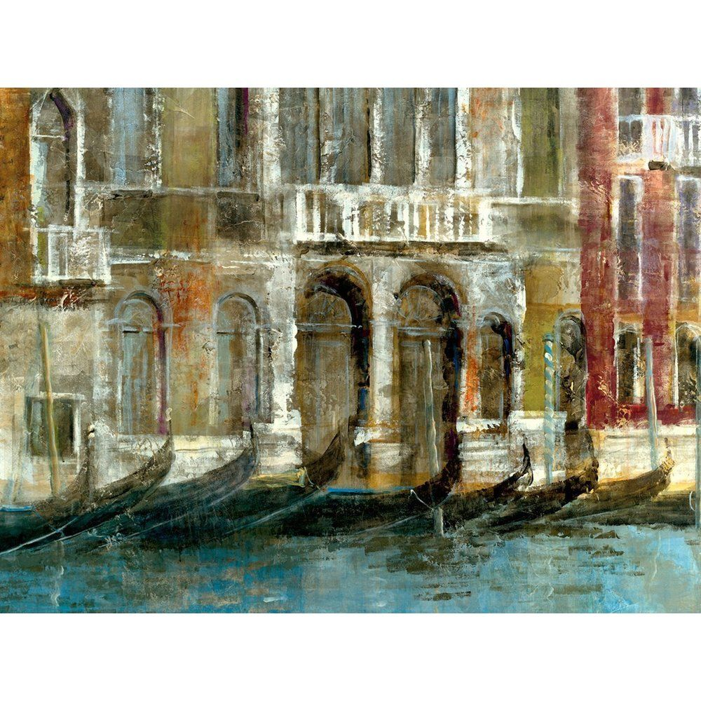 Large Printed 'Canal Facades' Framed Gallery-wrapped Canvas Art - Overstock™ Shopping - Top Rated Canvas