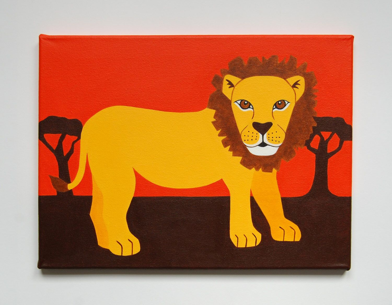 Lion Nursery Art, Lion painting, Safari Nursery decor, Lion Wall Art ...