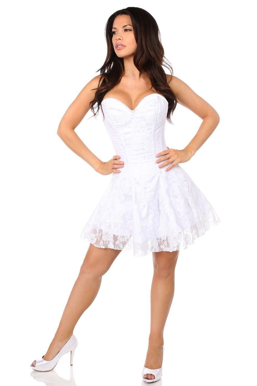 351c2cc7ebd Lavish White Satin   Lace Lace Up Corset Dress Premium Side Zipper ~ Sizes  Sm-6X