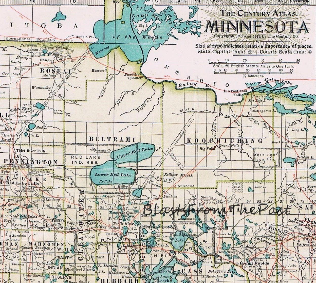 1911 Antique MAP of MINNESOTA Authentic Large Scale Century Atlas