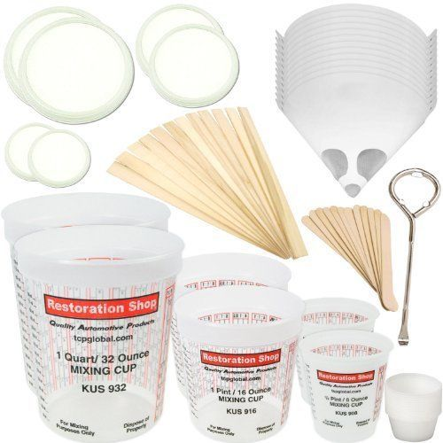TCP GLOBAL Premium Paint Mixing Essentials Kit. Comes with 12 Mixing Cups 6 L... #CustomShop