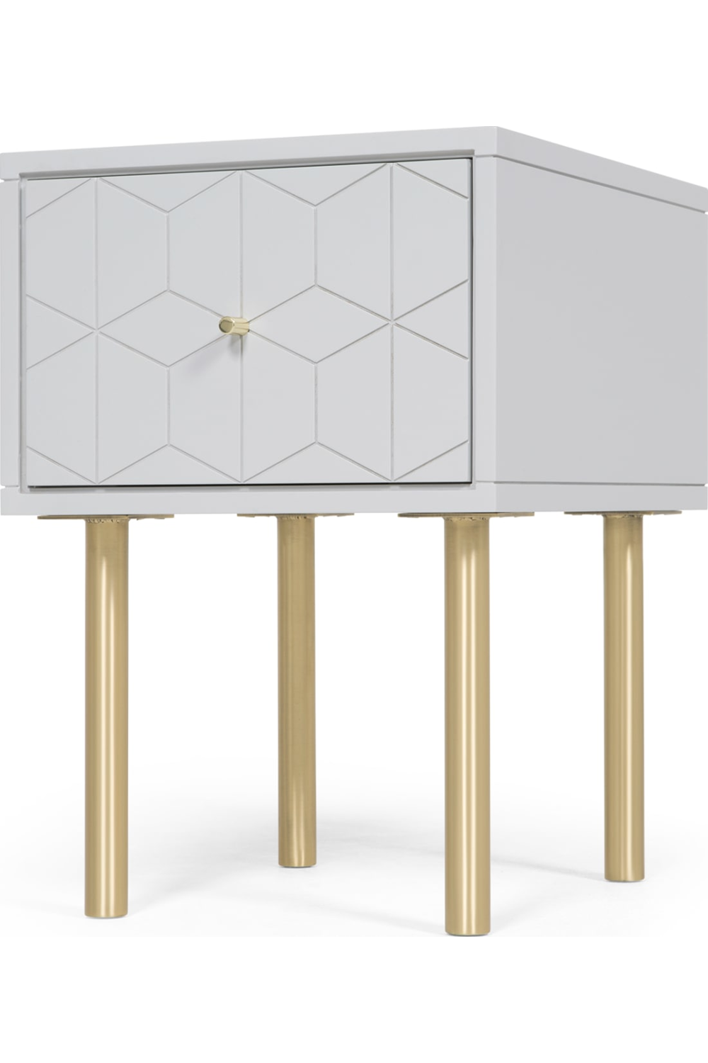 Grey Bedside Tables: Hedra Bedside Table, Grey And Brass In 2020 (With Images