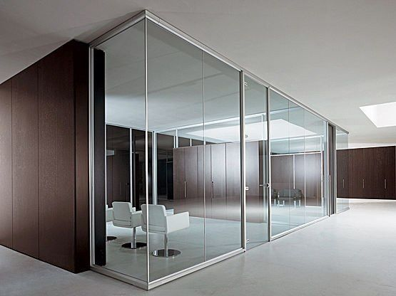 Framed Glass Office Walls With Frame Less Glass Doors Ceiling Height Wood Accents Glass Office Glass Partition Office Partition
