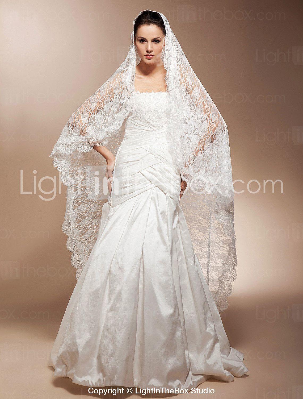 Onetier waltz wedding veils with lace applique edge usd