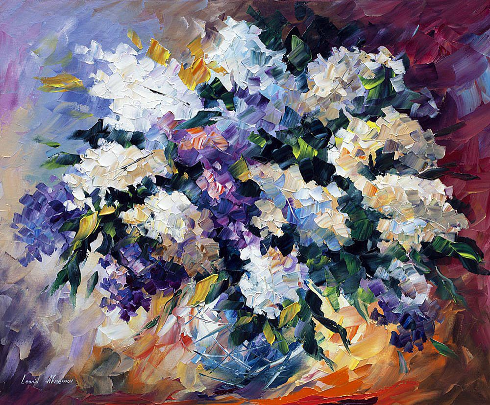 SMALL LILAC - PALETTE KNIFE Oil Painting On Canvas By Leonid Afremov https://afremov.com/SMALL-LILAC-PALETTE-KNIFE-Oil-Painting-On-Canvas-By-Leonid-Afremov-Size-20x24.html
