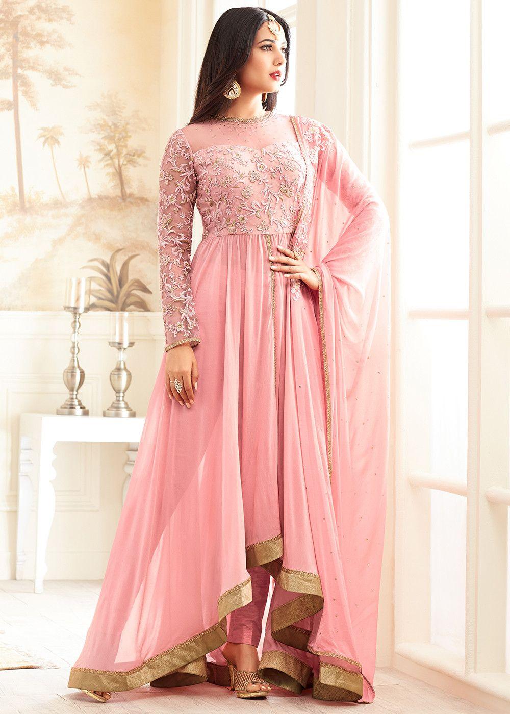 eead53c48e Sonal Chauhan Light Pink Georgette Pant Suit | Latest Salwar Kameez ...
