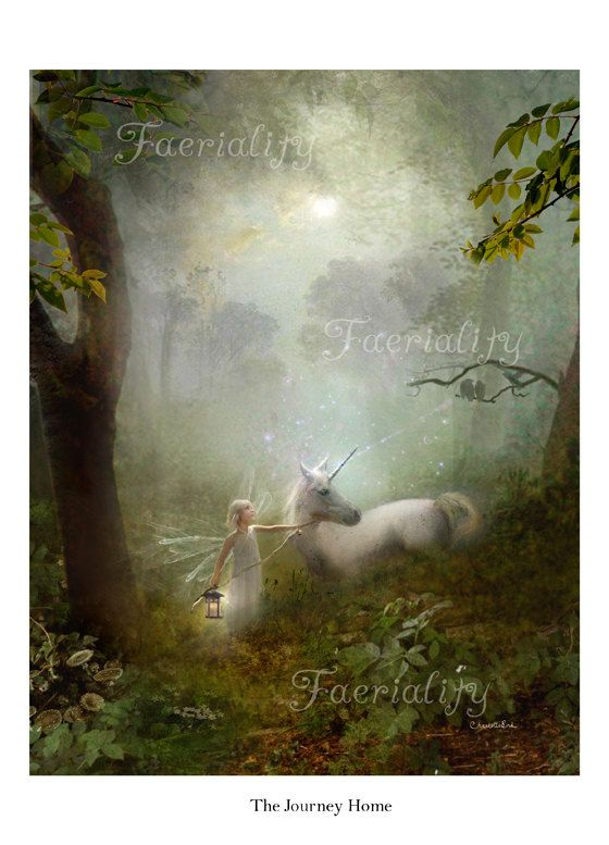 Unicorn art print 'The Journey Home' cropped version ... Hand signed print By…