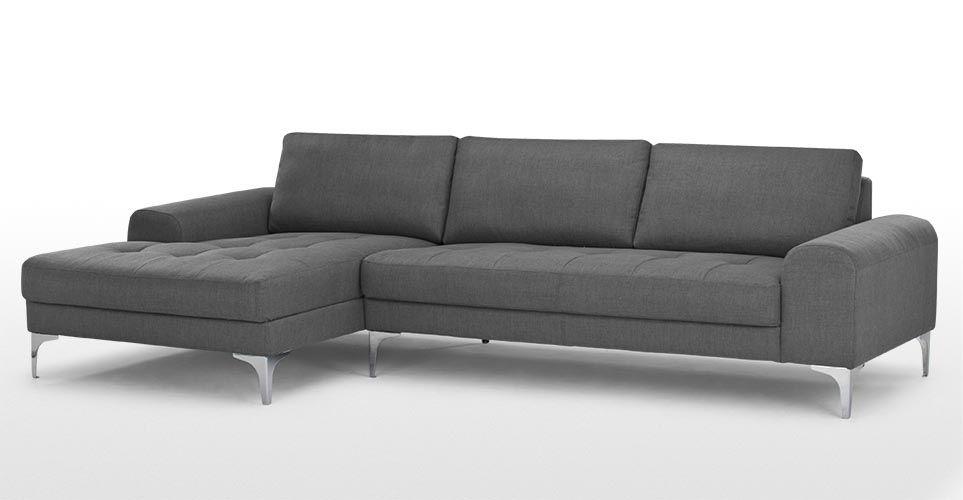 Vittorio Left Hand Facing Chaise End Corner Sofa Anthracite Grey