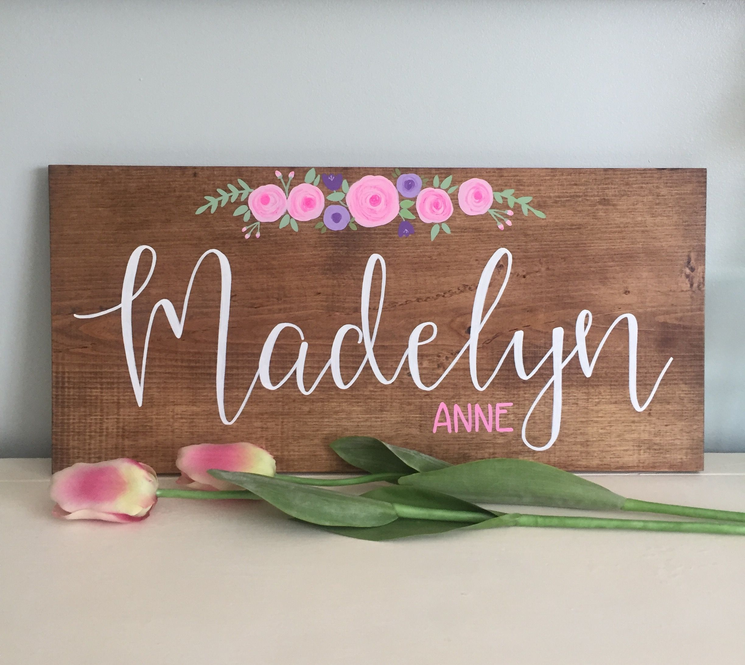 Girl Name Sign With Flowers For Nursery